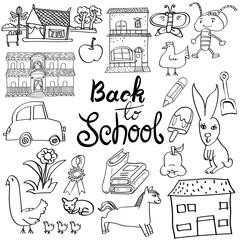 Back to school Cartoon doodle, Hand draw Vector