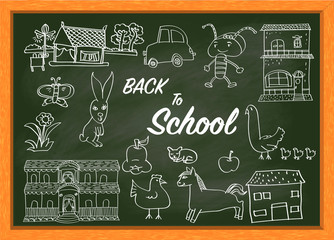 Hand drawing on green chalkboard with text BACK TO SCHOOL-Vector Illustration