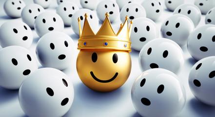 Goldener Smiley mit Krone in Gruppe