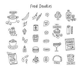 Food doodles outline set