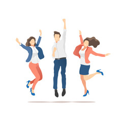Happy people celebrating victory on a white background. Vector illustration.
