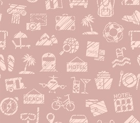 Travel, vacation, Hiking, leisure, seamless pattern, pencil shading, pink, color, vector. Different types of holidays and ways of travelling.