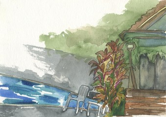 house corner, chair, water, pool, watercolor painting