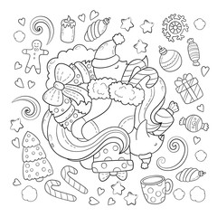 Doodle vector illustration, abstract background, texture, pattern, wallpaper, Collection of New Year Christmas elements and objects set. Freehand sketch for adult anti stress coloring book.