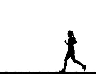 Silhouette  lady  running  on white background
