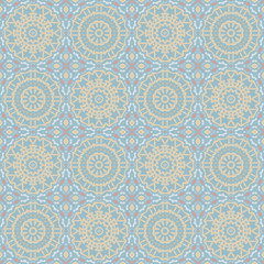 Nontrivial bright color abstract  mandala pattern, vector seamless, endless texture for printing onto fabric, interior, design, textile, wallpapers, covers, background, paper, tile, craft