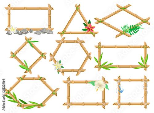 Wooden frame made of bamboo sticks set, frames of different shapes ...