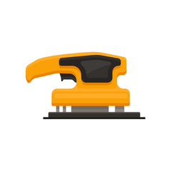 Flat vector icon of electric sandpaper. Orange sanding machine. Power tool for smoothing surface. Building equipment