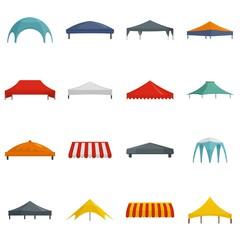 Fototapeta Canopy shed overhang icons set. Flat illustration of 16 canopy shed overhang vector icons isolated on white obraz