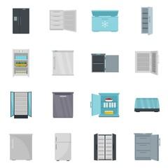 Freezer fridge frozen ice icons set. Flat illustration of 16 freezer fridge frozen ice vector icons isolated on white