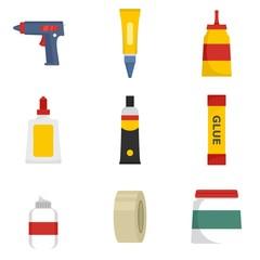 Glue stick adhesive icons set. Flat illustration of 9 glue stick adhesive vector icons isolated on white