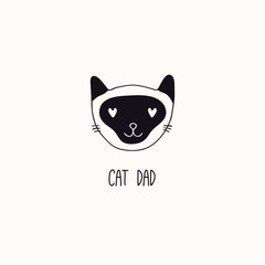 Photo Blinds Illustrations Hand drawn black and white vector illustration of a cute funny cat face, with quote Cat dad. Isolated objects. Line drawing. Design concept for poster, t-shirt print.