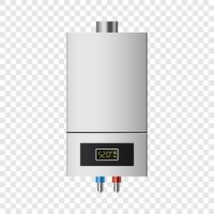 Small boiler mockup. Realistic illustration of small boiler vector mockup for on transparent background