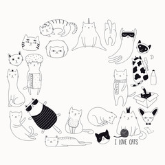 Wall Murals Illustrations Set of cute funny black and white doodles of different cats. Round frame with copy space. Isolated objects. Hand drawn vector illustration. Line drawing. Design concept for poster, t-shirt print.