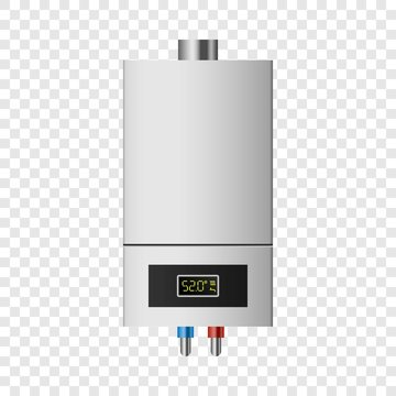 Small boiler mockup. Realistic illustration of small boiler vector mockup for on transparent background