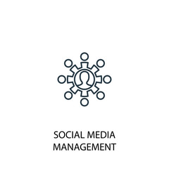 social media management line icon. Simple element illustration
