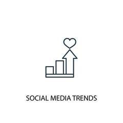 social media trends line icon. Simple element illustration