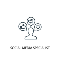 social media specialist line icon. Simple element illustration