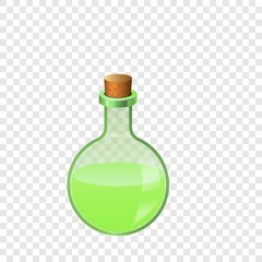 Green glass flask icon. Cartoon of green glass flask vector icon for on transparent background
