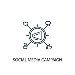 social media campaign line icon. Simple element illustration