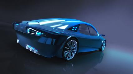 blue elegant car in dark illuminated studio