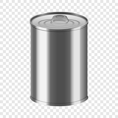 Vegetable tin can mockup. Realistic illustration of vegetable tin can vector mockup for on transparent background