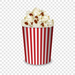 Popcorn box mockup. Realistic illustration of popcorn box vector mockup for on transparent background