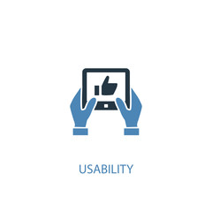 usability concept 2 colored icon. Simple blue element illustration