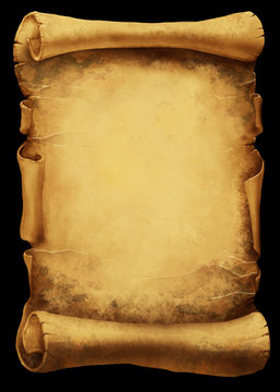 Antique torn scroll background; cartoon style illustration