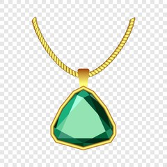Emerald jewelry icon. Realistic illustration of emerald jewelry vector icon for on transparent background