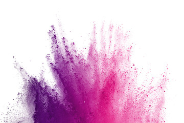 Abstract of colored powder explosion on white background. Freeze motion of purple powder exploding on white background. Colored cloud. Colored dust.