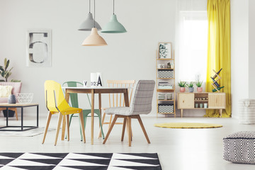 Wooden table with different chairs standing in real photo of white flat interior with pastel lamps, cupboard with plants, window with drapes and carpet on floor