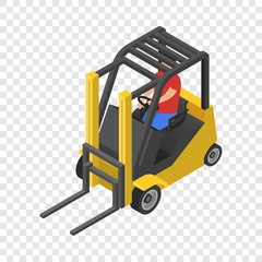 Forklift icon. Isometric of forklift vector icon for on transparent background