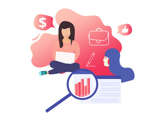 Modern vector illustration concept for landing page website or mobile site version: Female startup girl power concept. Women business coworking startup report presentation. Female business template