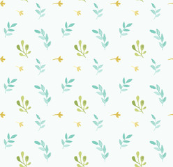 Leaves and branches vector pattern in hand drawn watercolor style. Delicate seamless background.