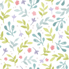 Watercolor seamless pattern with branches, leaves and flowers. Vector hand drawn spring background in pastel colors.