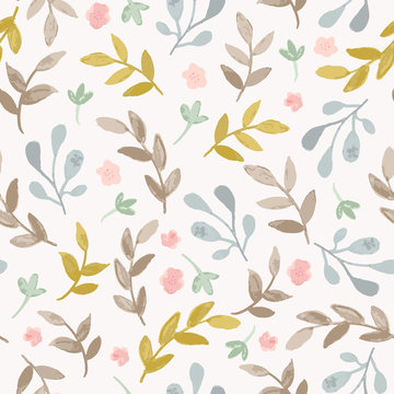 Hand drawn seamless pattern with branches, leaves and flowers. Vector watercolor background in pastel, fall colors.