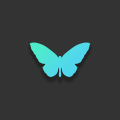 butterfly icon. Colorful logo concept with soft shadow on dark b