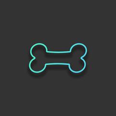 Dog bone icon. Colorful logo concept with soft shadow on dark ba