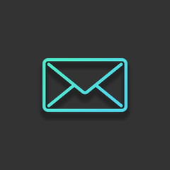 mail close icon. Colorful logo concept with soft shadow on dark