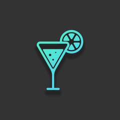 cocktail with lemon slice icon. Colorful logo concept with soft