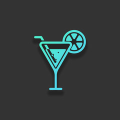 cocktail. simple silhouette. Colorful logo concept with soft sha