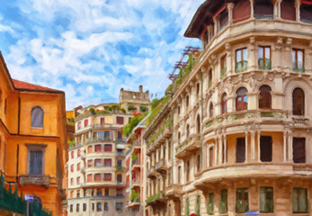 Painting on canvas with the image of the Milan street in the summer, Italy