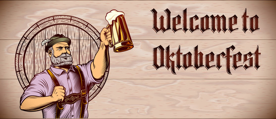 Invitation flyer with lettering Welcome to Oktoberfest and copy space on wooden background. Man raise up hand with beer mug with foamy lager. Template design card, leaflet. Vector vintage illustration