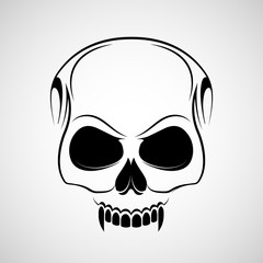Skull is a vampire with fangs. Logo tattoo isolated on white background.