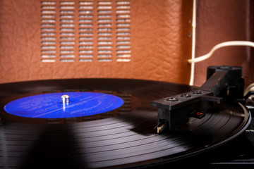Turntable needle on a vinyl record