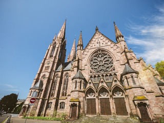 STRASBOURG, FRANCE - JUL 16, 2018: The St. Paul's Church of Strasbourg Eglise reformee Saint-Paul the major Gothic Revival architecture building in central Strasbourg, wide angle view from below