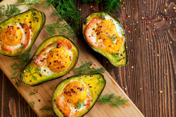 Baked eggs in avocado with smoked salmon