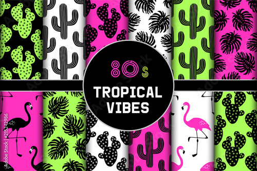 Cute set of 80s tropical vibes seamless patterns