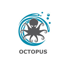 icon of octopus with water splash isolated on white background